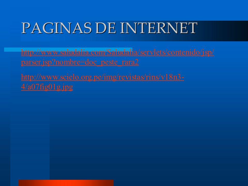 PAGINAS DE INTERNET http://www.saludalia.com/Saludalia/servlets/contenido/jsp/ parser.jsp?nombre=doc_peste_rara2 http://www.scielo.org.pe/img/revistas