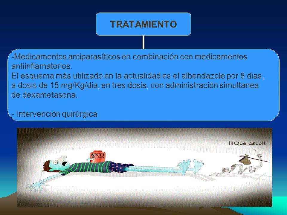 TRATAMIENTO Medicamentos antiparasíticos en combinación con medicamentos antiinflamatorios. El esquema más utilizado en la actualidad es el albendazol