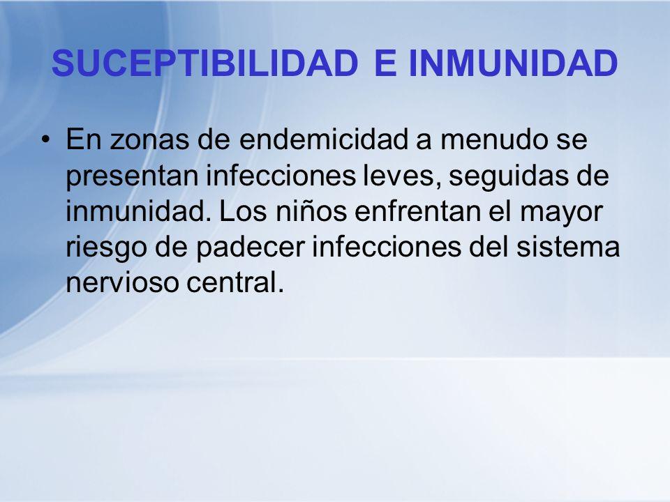 SUCEPTIBILIDAD E INMUNIDAD En zonas de endemicidad a menudo se presentan infecciones leves, seguidas de inmunidad. Los niños enfrentan el mayor riesgo