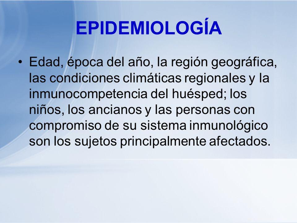 EPIDEMIOLOGÍA Edad, época del año, la región geográfica, las condiciones climáticas regionales y la inmunocompetencia del huésped; los niños, los anci