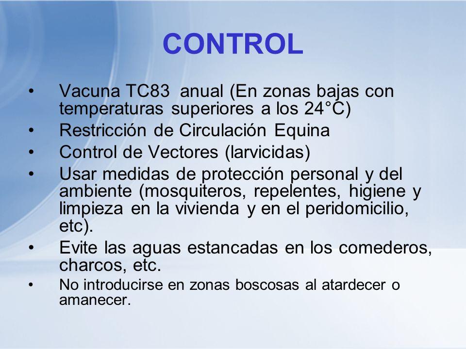 CONTROL Vacuna TC83 anual (En zonas bajas con temperaturas superiores a los 24°C) Restricción de Circulación Equina Control de Vectores (larvicidas) U