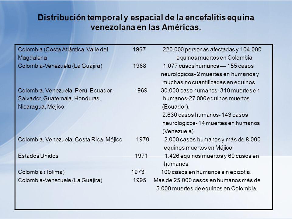 Colombia (Costa Atlántica, Valle del 1967 220.000 personas afectadas y 104.000 Magdalena equinos muertos en Colombia Colombia-Venezuela (La Guajira) 1