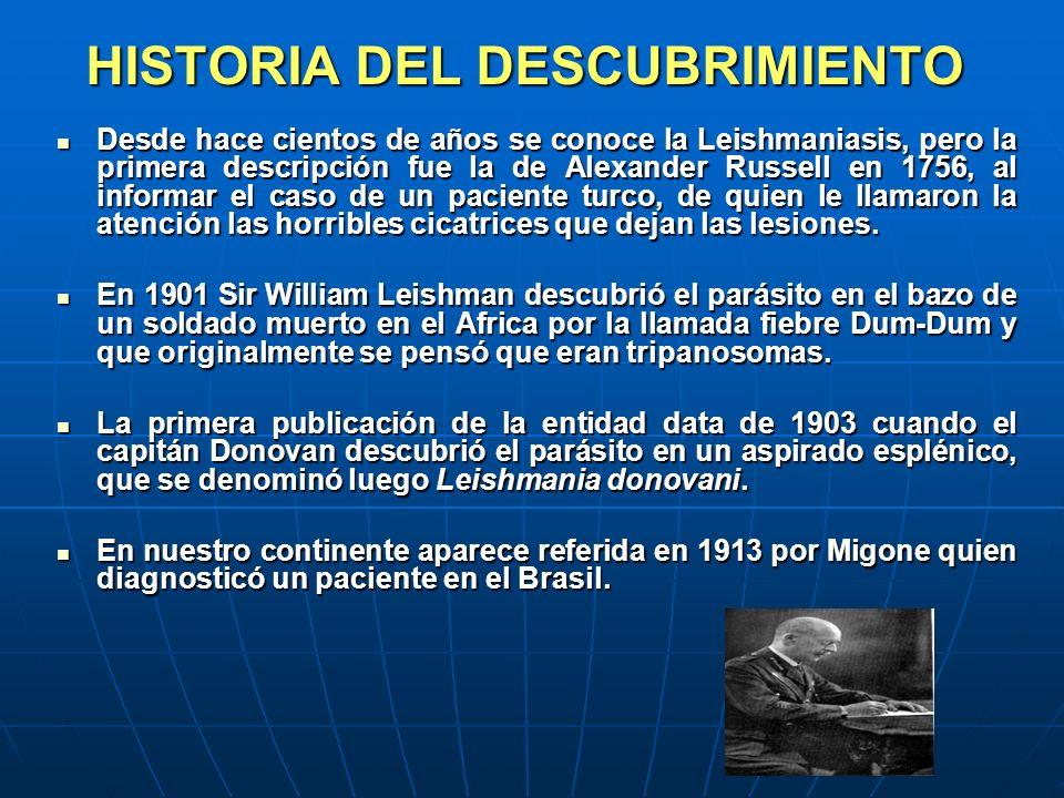 HISTORIA DEL DESCUBRIMIENTO Desde hace cientos de años se conoce la Leishmaniasis, pero la primera descripción fue la de Alexander Russell en 1756, al