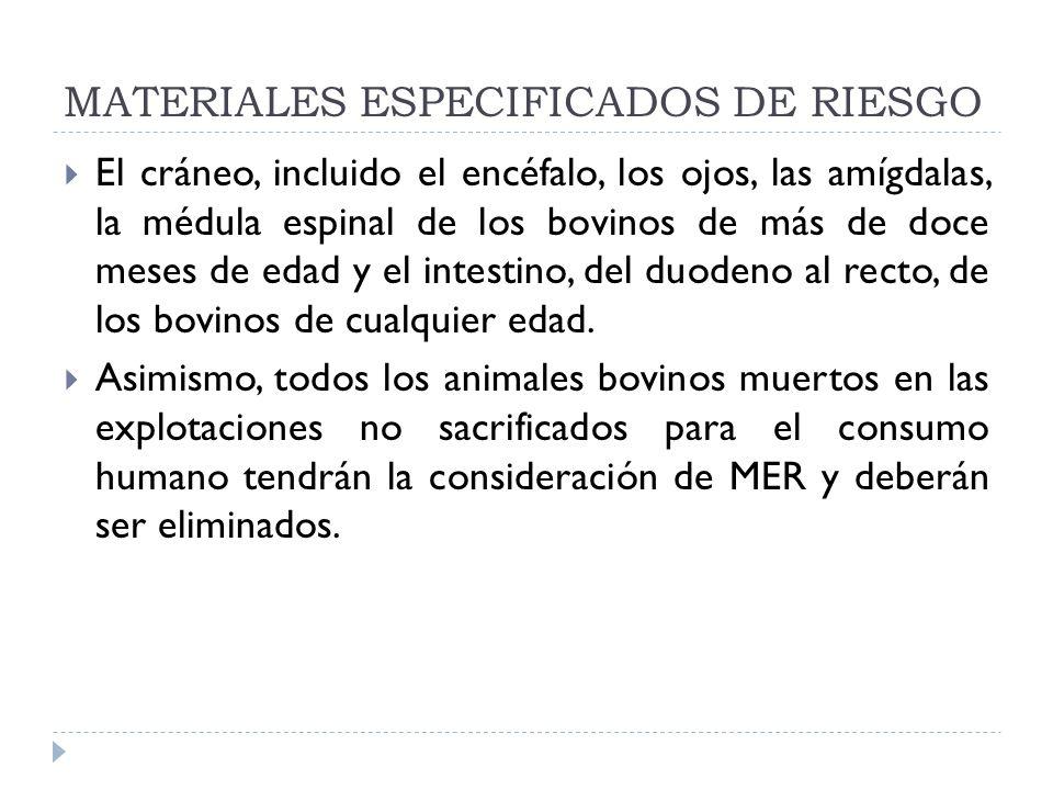 MATERIALES ESPECIFICADOS DE RIESGO El cráneo, incluido el encéfalo, los ojos, las amígdalas, la médula espinal de los bovinos de más de doce meses de