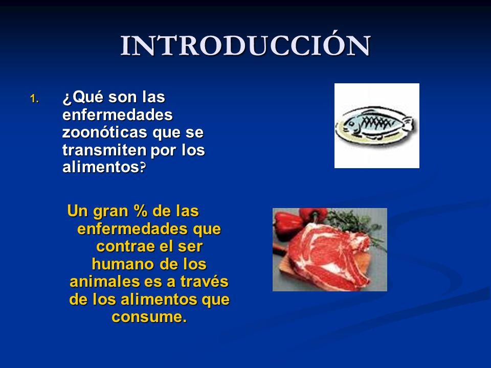 INTRODUCCIÓN 1. ¿Qué son las enfermedades zoonóticas que se transmiten por los alimentos ? Un gran % de las enfermedades que contrae el ser humano de