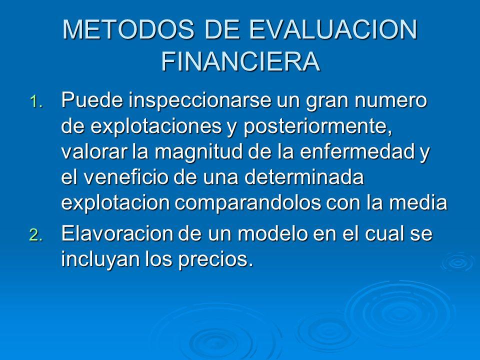 METODOS DE EVALUACION FINANCIERA 1. Puede inspeccionarse un gran numero de explotaciones y posteriormente, valorar la magnitud de la enfermedad y el v