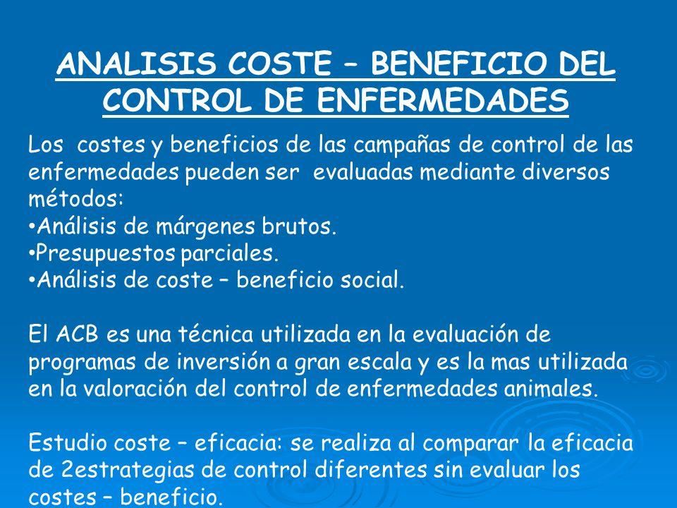 ANALISIS COSTE – BENEFICIO DEL CONTROL DE ENFERMEDADES Los costes y beneficios de las campañas de control de las enfermedades pueden ser evaluadas mediante diversos métodos: Análisis de márgenes brutos.