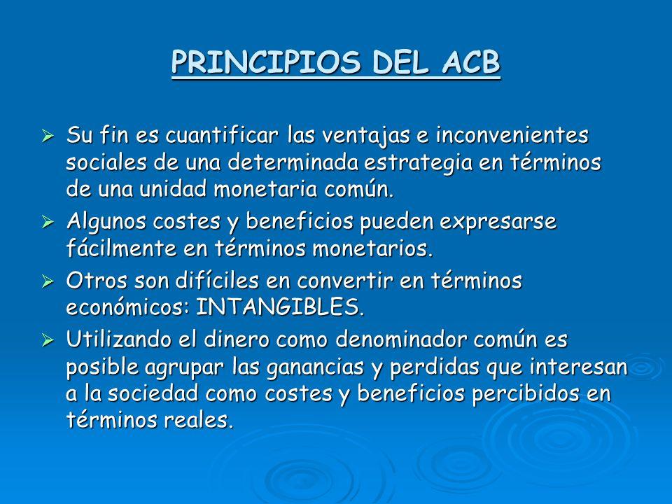 PRINCIPIOS DEL ACB Su fin es cuantificar las ventajas e inconvenientes sociales de una determinada estrategia en términos de una unidad monetaria común.