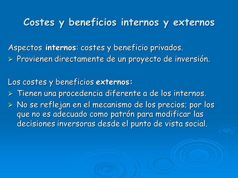 Costes y beneficios internos y externos Aspectos internos: costes y beneficio privados. Provienen directamente de un proyecto de inversión. Provienen