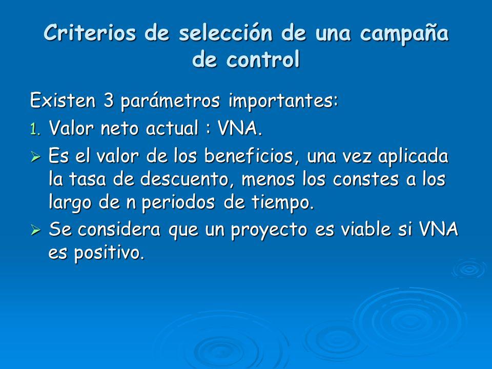 Criterios de selección de una campaña de control Existen 3 parámetros importantes: 1. Valor neto actual : VNA. Es el valor de los beneficios, una vez