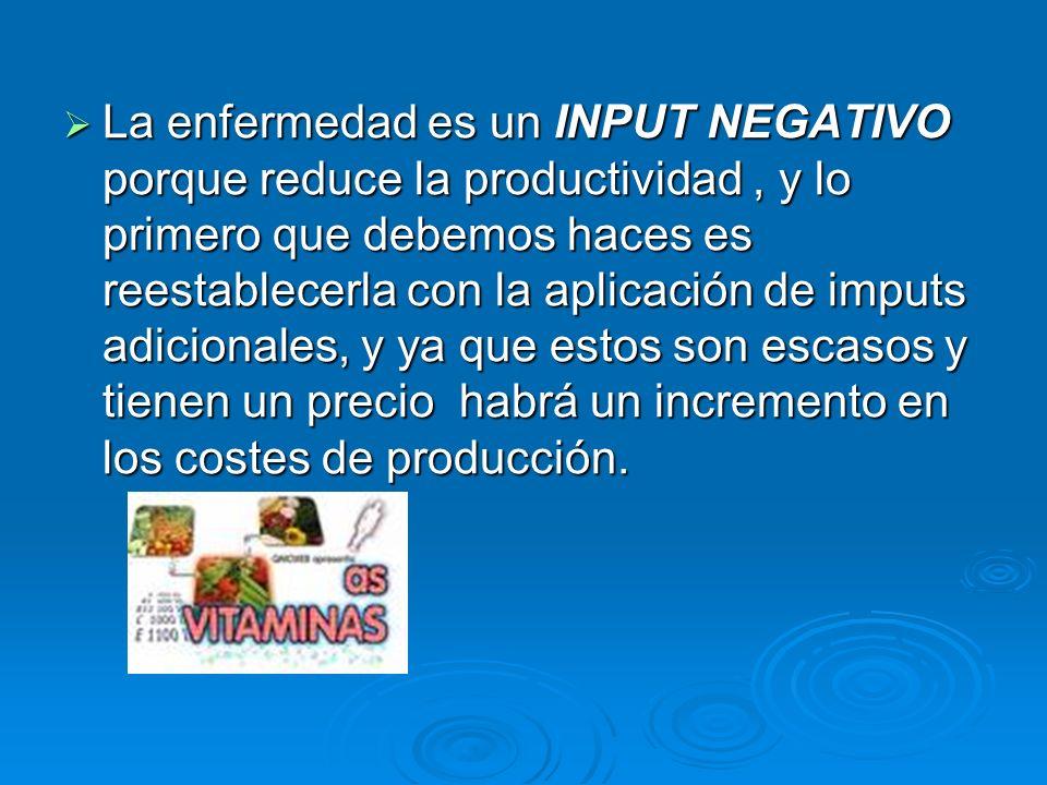 La enfermedad es un INPUT NEGATIVO porque reduce la productividad, y lo primero que debemos haces es reestablecerla con la aplicación de imputs adicionales, y ya que estos son escasos y tienen un precio habrá un incremento en los costes de producción.