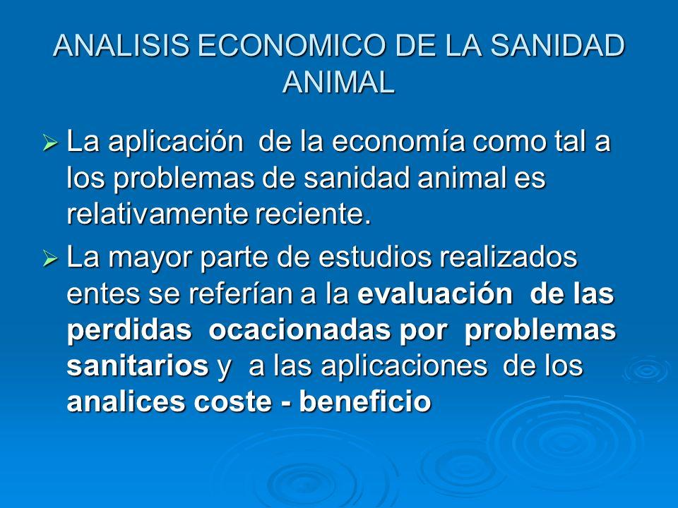 ANALISIS ECONOMICO DE LA SANIDAD ANIMAL La aplicación de la economía como tal a los problemas de sanidad animal es relativamente reciente. La aplicaci