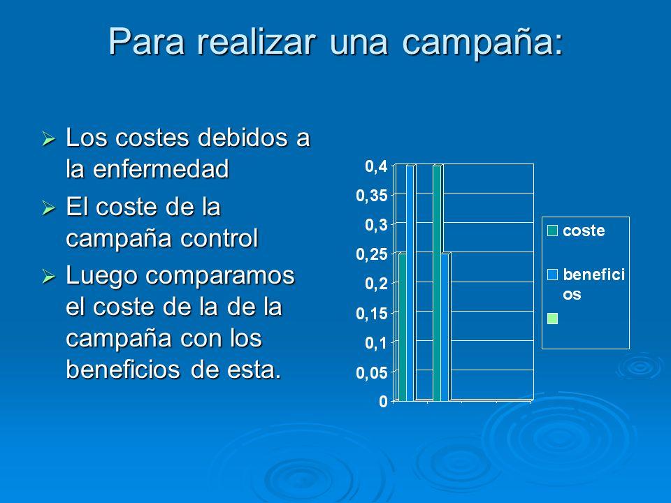 Para realizar una campaña: Los costes debidos a la enfermedad Los costes debidos a la enfermedad El coste de la campaña control El coste de la campaña