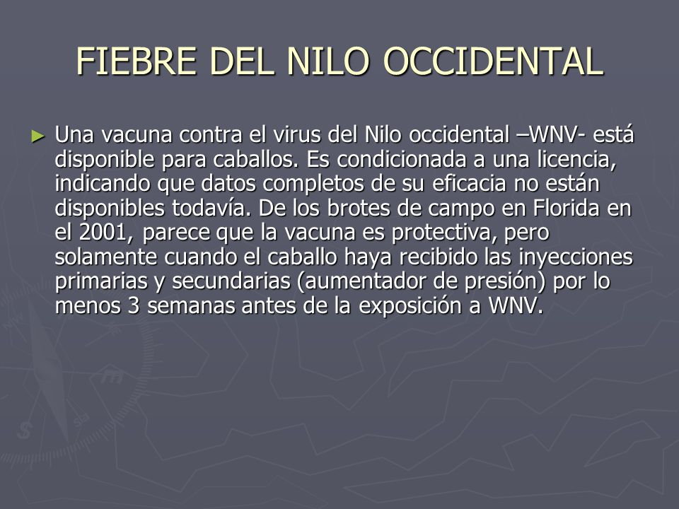 FIEBRE DEL NILO OCCIDENTAL Una vacuna contra el virus del Nilo occidental –WNV- está disponible para caballos. Es condicionada a una licencia, indican