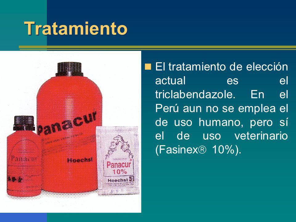 Tratamiento El tratamiento de elección actual es el triclabendazole. En el Perú aun no se emplea el de uso humano, pero sí el de uso veterinario (Fasi