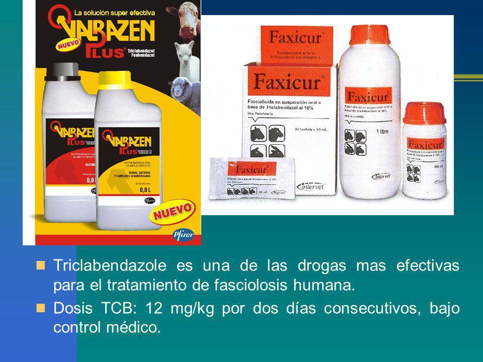 Triclabendazole es una de las drogas mas efectivas para el tratamiento de fasciolosis humana. Dosis TCB: 12 mg/kg por dos días consecutivos, bajo cont