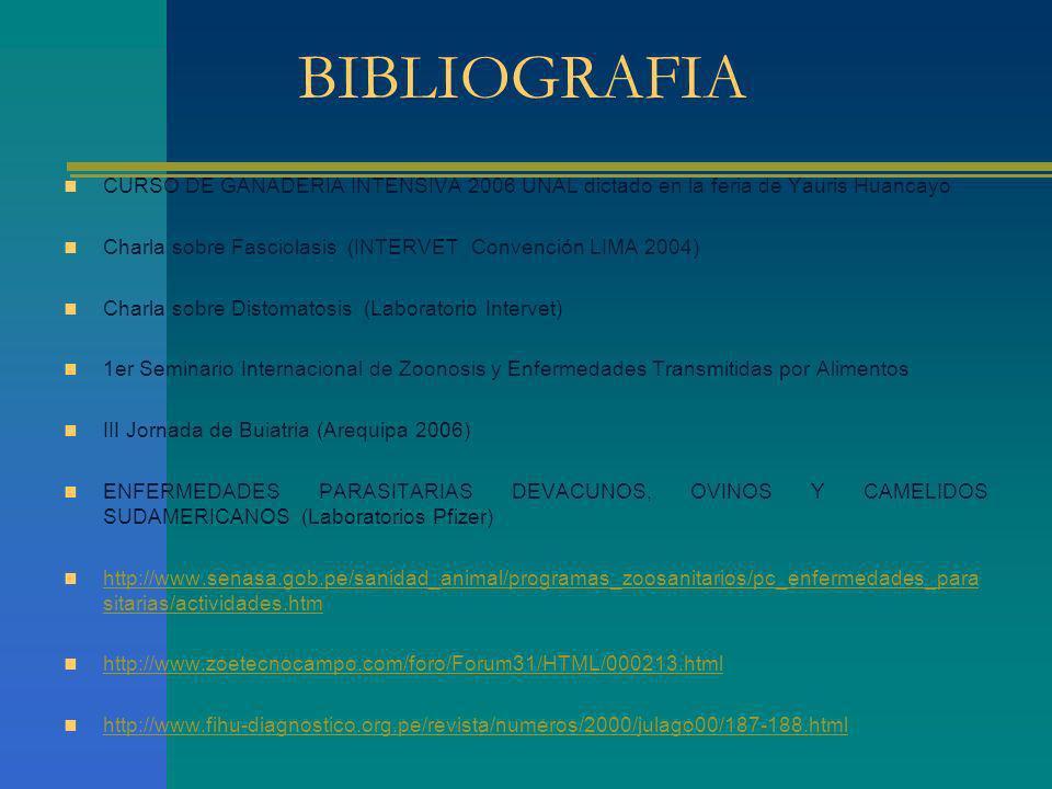BIBLIOGRAFIA CURSO DE GANADERIA INTENSIVA 2006 UNAL dictado en la feria de Yauris Huancayo Charla sobre Fasciolasis (INTERVET Convención LIMA 2004) Ch