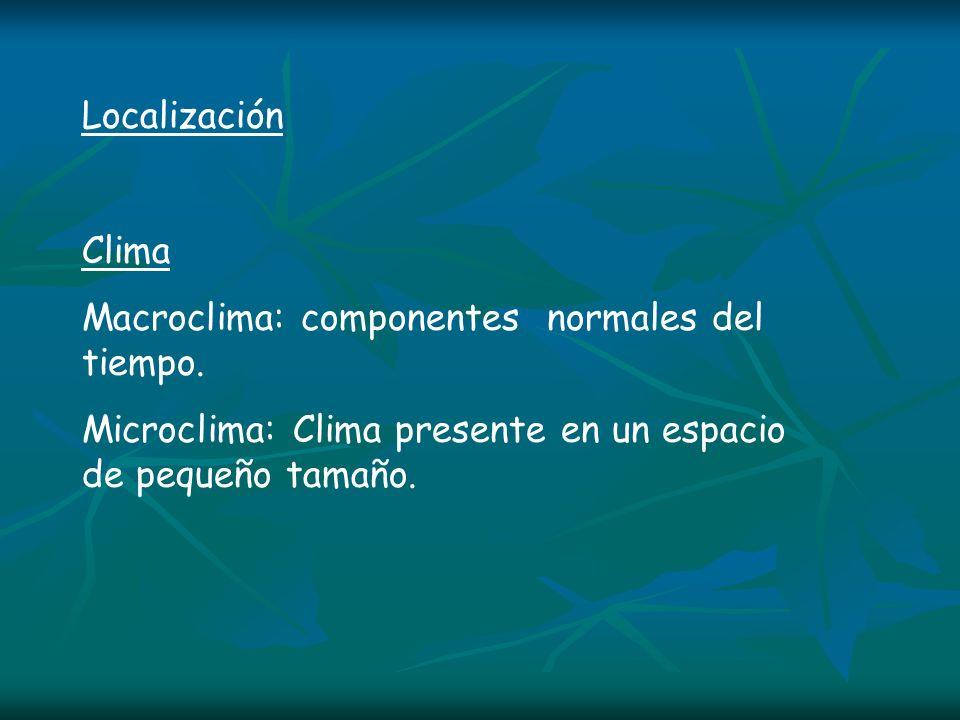 Localización Clima Macroclima: componentes normales del tiempo. Microclima: Clima presente en un espacio de pequeño tamaño.