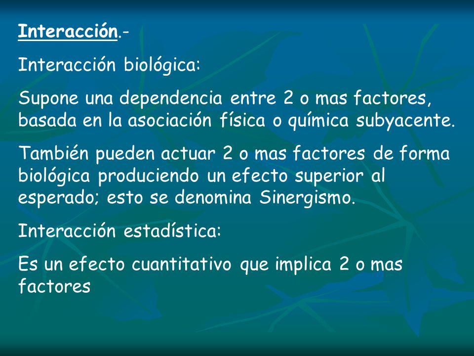 Interacción.- Interacción biológica: Supone una dependencia entre 2 o mas factores, basada en la asociación física o química subyacente. También puede