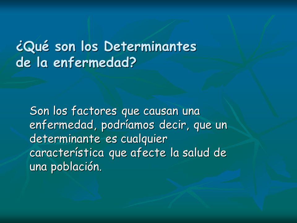 ¿Qué son los Determinantes de la enfermedad? Son los factores que causan una enfermedad, podríamos decir, que un determinante es cualquier característ