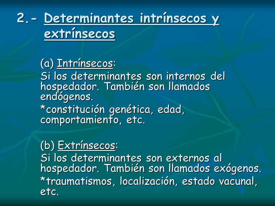 2.- Determinantes intrínsecos y extrínsecos (a) Intrínsecos: Si los determinantes son internos del hospedador. También son llamados endógenos. *consti