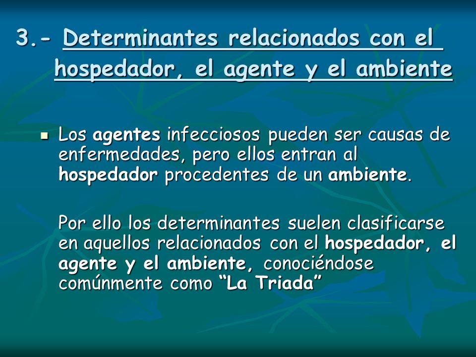 3.- Determinantes relacionados con el hospedador, el agente y el ambiente Los agentes infecciosos pueden ser causas de enfermedades, pero ellos entran