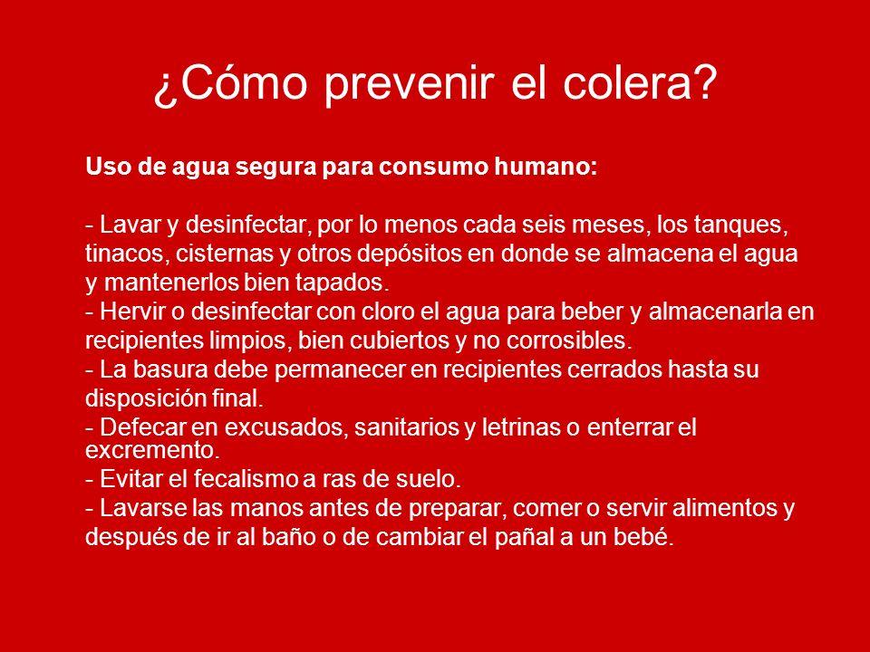 ¿Cómo prevenir el colera? Uso de agua segura para consumo humano: - Lavar y desinfectar, por lo menos cada seis meses, los tanques, tinacos, cisternas