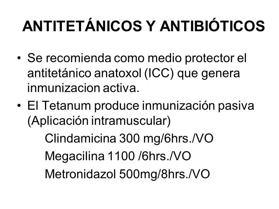 ANTITETÁNICOS Y ANTIBIÓTICOS Se recomienda como medio protector el antitetánico anatoxol (ICC) que genera inmunizacion activa. El Tetanum produce inmu