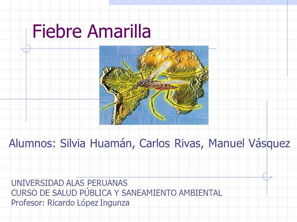 Fiebre Amarilla Alumnos: Silvia Huamán, Carlos Rivas, Manuel Vásquez UNIVERSIDAD ALAS PERUANAS CURSO DE SALUD PÚBLICA Y SANEAMIENTO AMBIENTAL Profesor