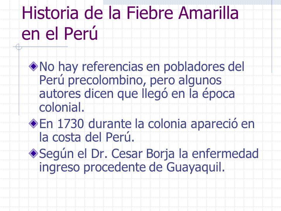 Historia de la Fiebre Amarilla en el Perú No hay referencias en pobladores del Perú precolombino, pero algunos autores dicen que llegó en la época col