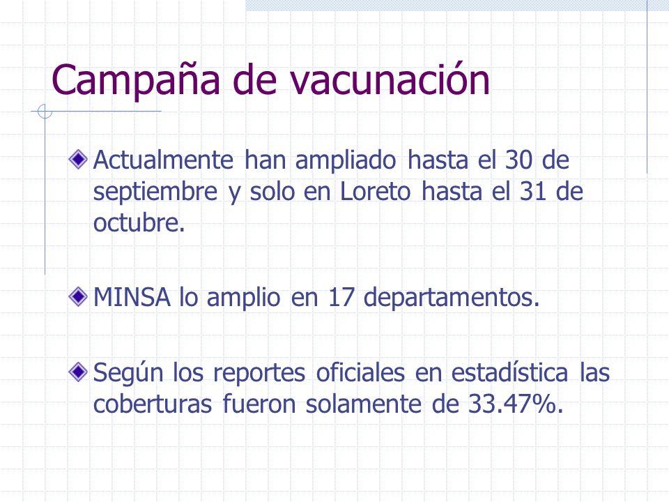 Campaña de vacunación Actualmente han ampliado hasta el 30 de septiembre y solo en Loreto hasta el 31 de octubre. MINSA lo amplio en 17 departamentos.