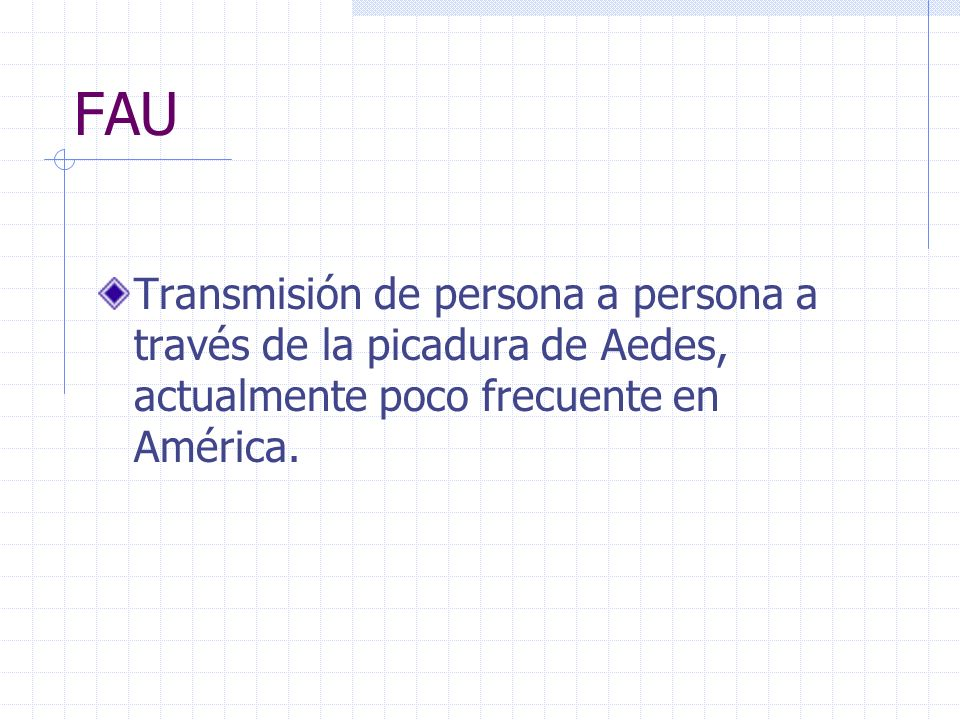 FAU Transmisión de persona a persona a través de la picadura de Aedes, actualmente poco frecuente en América.