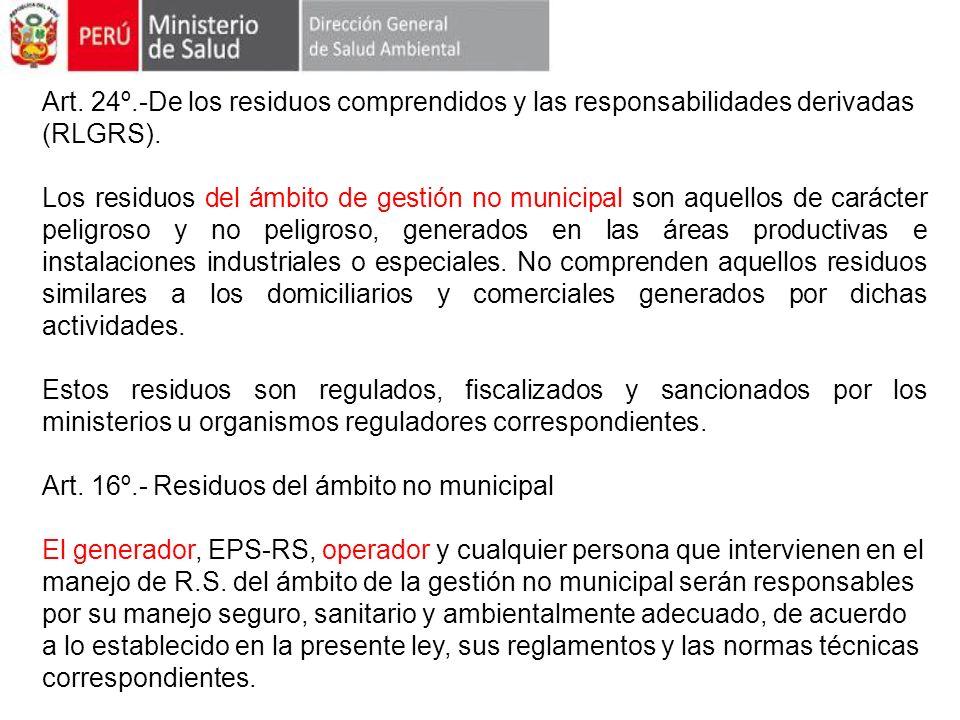 Art. 24º.-De los residuos comprendidos y las responsabilidades derivadas (RLGRS). Los residuos del ámbito de gestión no municipal son aquellos de cará