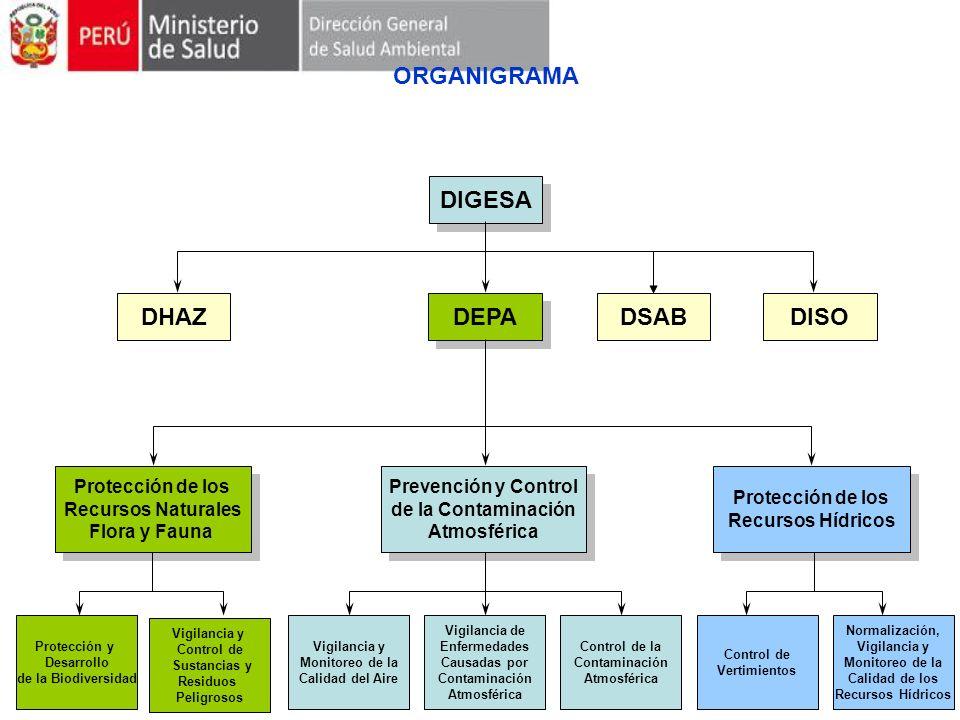 ORGANIGRAMA DIGESA DEPA DSABDHAZ Protección de los Recursos Naturales Flora y Fauna Protección de los Recursos Naturales Flora y Fauna Prevención y Co