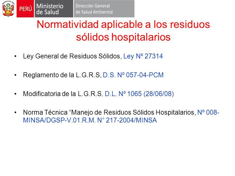 Normatividad aplicable a los residuos sólidos hospitalarios Ley General de Residuos Sólidos, Ley Nº 27314 Reglamento de la L.G.R.S, D.S. Nº 057-04-PCM