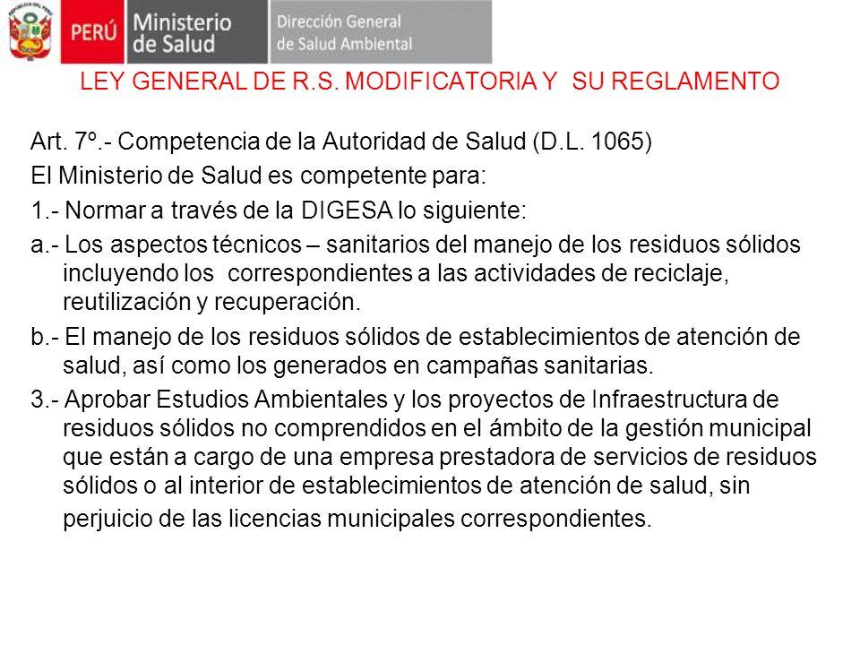 LEY GENERAL DE R.S. MODIFICATORIA Y SU REGLAMENTO Art. 7º.- Competencia de la Autoridad de Salud (D.L. 1065) El Ministerio de Salud es competente para