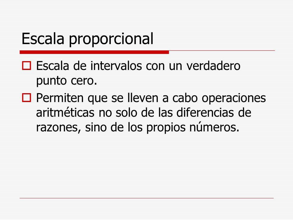 Escala proporcional Escala de intervalos con un verdadero punto cero. Permiten que se lleven a cabo operaciones aritméticas no solo de las diferencias