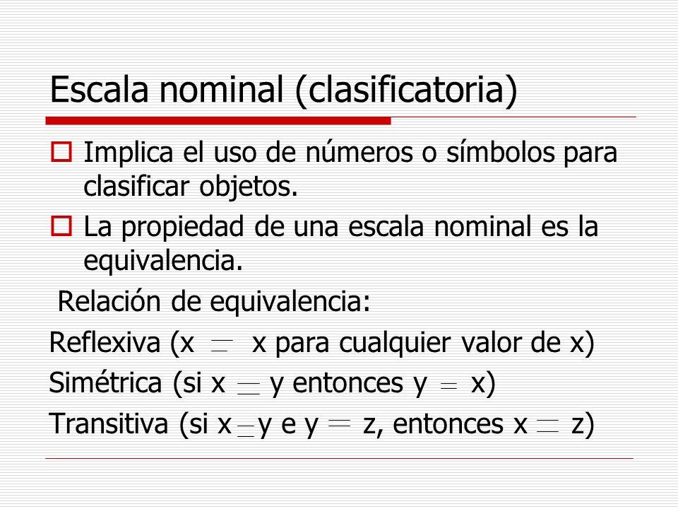 Escala nominal (clasificatoria) Implica el uso de números o símbolos para clasificar objetos. La propiedad de una escala nominal es la equivalencia. R