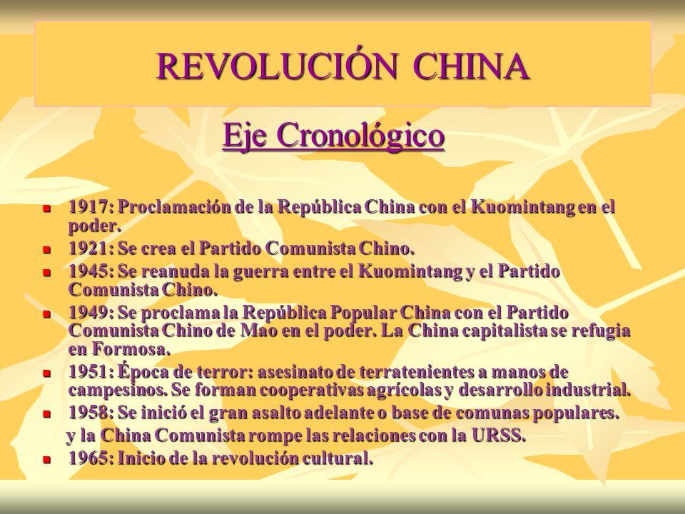 REVOLUCIÓN CHINA Eje Cronológico Eje Cronológico 1917: Proclamación de la República China con el Kuomintang en el poder. 1917: Proclamación de la Repú