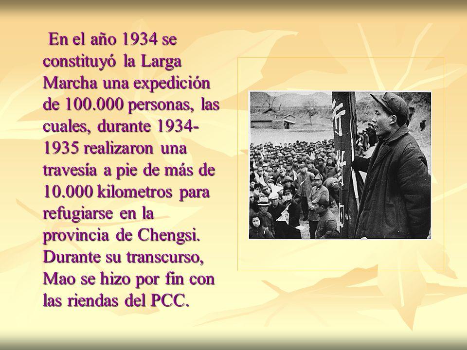 En el año 1934 se constituyó la Larga Marcha una expedición de 100.000 personas, las cuales, durante 1934- 1935 realizaron una travesía a pie de más d