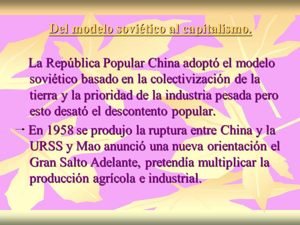 Del modelo soviético al capitalismo. La República Popular China adoptó el modelo soviético basado en la colectivización de la tierra y la prioridad de