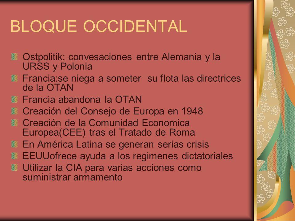 BLOQUE OCCIDENTAL Ostpolitik: convesaciones entre Alemania y la URSS y Polonia Francia:se niega a someter su flota las directrices de la OTAN Francia abandona la OTAN Creación del Consejo de Europa en 1948 Creación de la Comunidad Economica Europea(CEE) tras el Tratado de Roma En América Latina se generan serias crisis EEUUofrece ayuda a los regimenes dictatoriales Utilizar la CIA para varias acciones como suministrar armamento