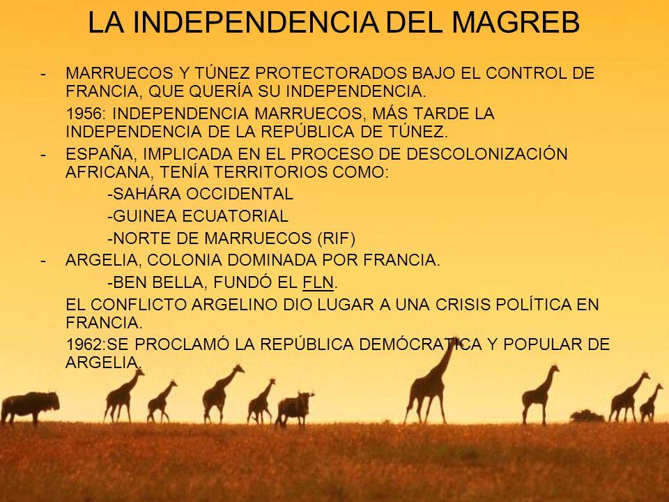 LA INDEPENDENCIA DEL MAGREB -MARRUECOS Y TÚNEZ PROTECTORADOS BAJO EL CONTROL DE FRANCIA, QUE QUERÍA SU INDEPENDENCIA. 1956: INDEPENDENCIA MARRUECOS, M