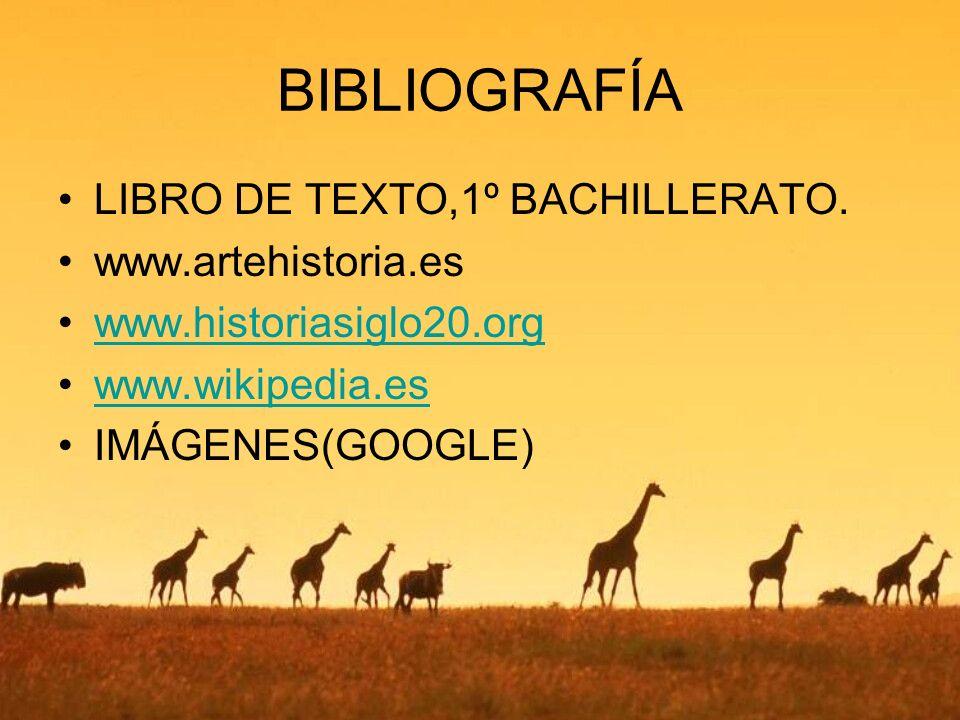 BIBLIOGRAFÍA LIBRO DE TEXTO,1º BACHILLERATO. www.artehistoria.es www.historiasiglo20.org www.wikipedia.es IMÁGENES(GOOGLE)