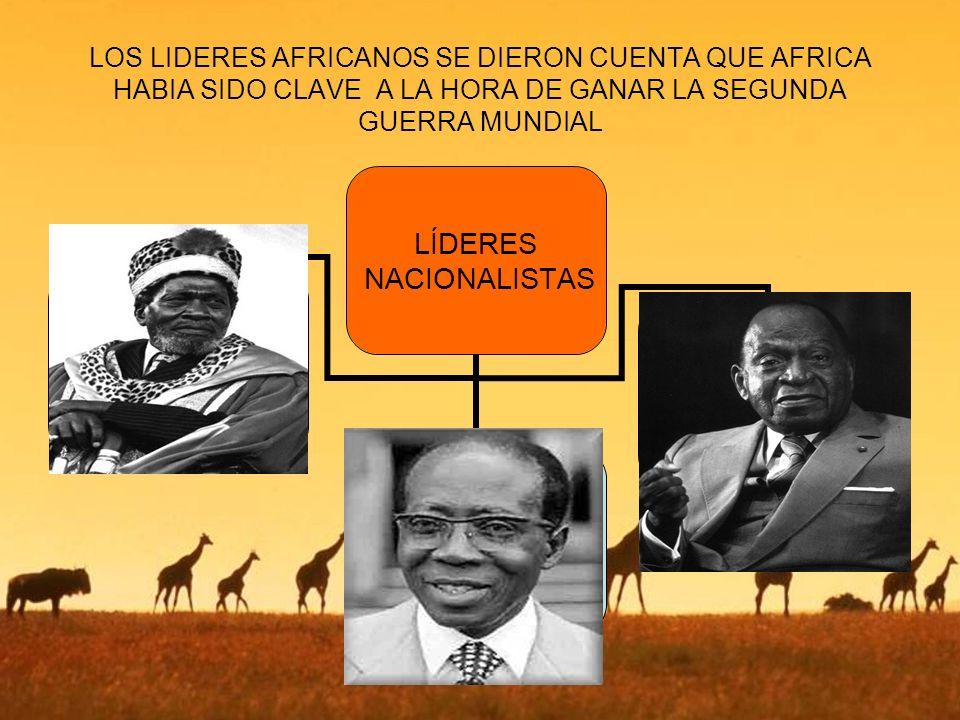 LOS LIDERES AFRICANOS SE DIERON CUENTA QUE AFRICA HABIA SIDO CLAVE A LA HORA DE GANAR LA SEGUNDA GUERRA MUNDIAL LÍDERES NACIONALISTAS
