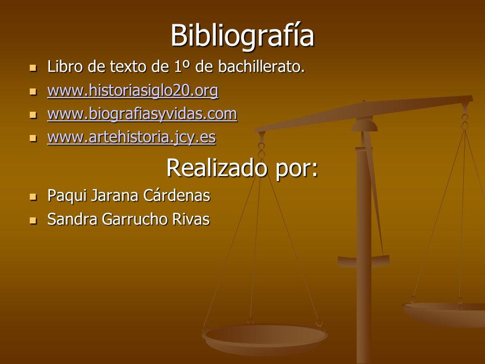 Bibliografía Libro de texto de 1º de bachillerato. Libro de texto de 1º de bachillerato. www.historiasiglo20.org www.historiasiglo20.org www.historias
