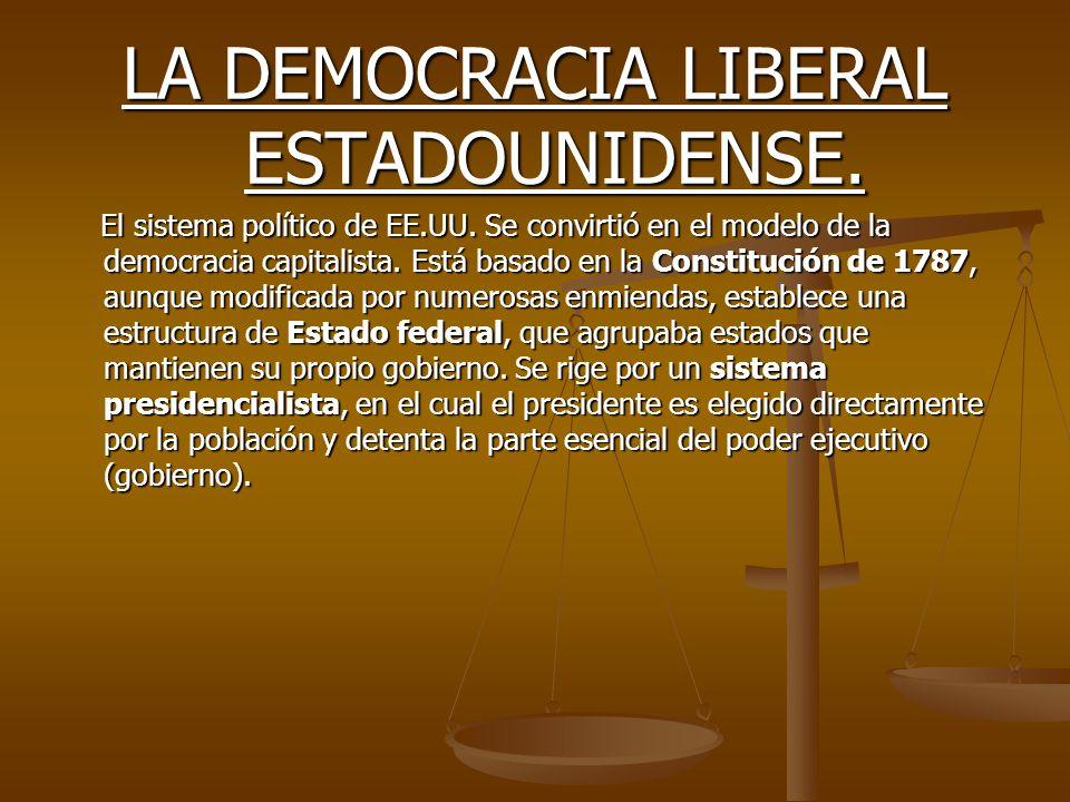 LA DEMOCRACIA LIBERAL ESTADOUNIDENSE. El sistema político de EE.UU. Se convirtió en el modelo de la democracia capitalista. Está basado en la Constitu