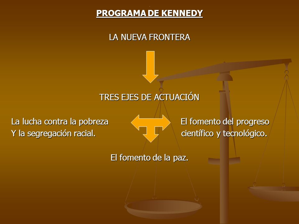 PROGRAMA DE KENNEDY LA NUEVA FRONTERA TRES EJES DE ACTUACIÓN La lucha contra la pobreza El fomento del progreso Y la segregación racial. científico y