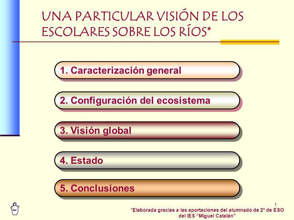 1 UNA PARTICULAR VISIÓN DE LOS ESCOLARES SOBRE LOS RÍOS* 1. Caracterización general 2. Configuración del ecosistema 3. Visión global 4. Estado 5. Conc