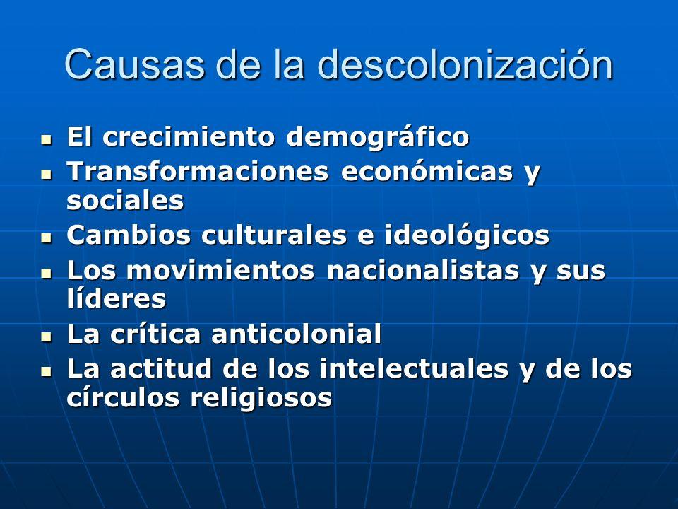 Causas de la descolonización El crecimiento demográfico El crecimiento demográfico Transformaciones económicas y sociales Transformaciones económicas